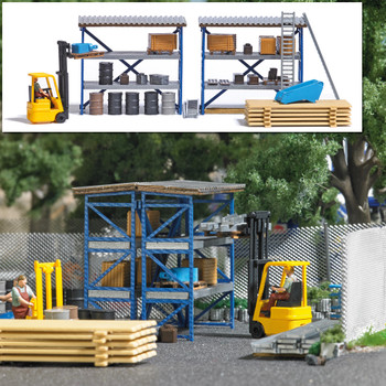 HO 1:87 Busch # 7845 Forklift and Driver, 2 Storage Racks, Steel Drums, Crates, Pallets & More