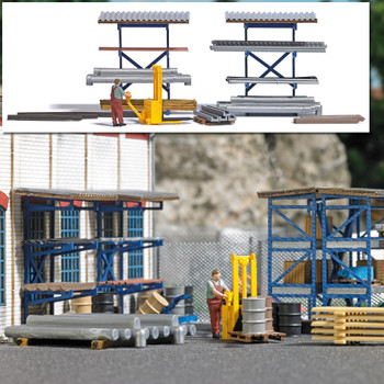 HO 1:87 Busch # 7844 High-Lift Fork Truck, 2 Storage Racks, Steel Materials, Figure