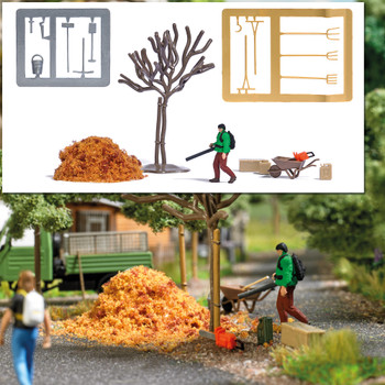 HO 1:87 Busch # 7852 Figure with Leaf Blower, Fall Leaf Material, Barren tree, Wheelbarrow, Chain
