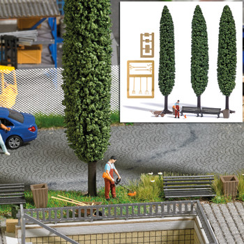 HO 1:87 Busch # 7853 Figure w/Trimmer, 2 Benches, Wheelbarrow, 2 Garbage Cans, 3 Poplar Trees