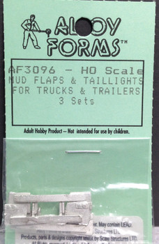 HO 1/87 Alloy Forms # 3096 Mud Flaps & Taillights for trucks/trailers (3 sets)