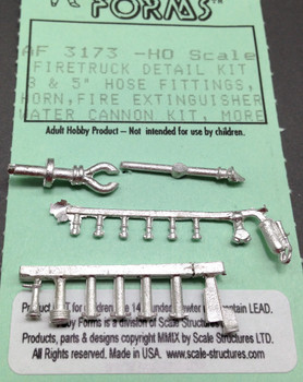 HO 1:87 Alloy Forms # 3173 Firetruck Detail Kit #3 Water Cannon, Hose Sections