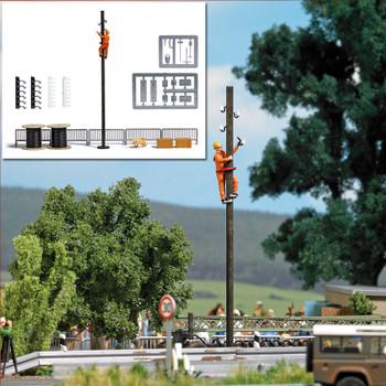 HO 1:87 Busch # 7837 - Pole Climber w/ Pole & Accessories Miniature Scene