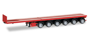 HO 1:87 Herpa # 76715 6-Axle Noteboom 50' Flatbed Trailer - Red