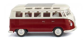 HO 1:87 Wiking # 79722 - 1963-1967 Volkswagen T1 Samba Passenger Van  Red/Cream