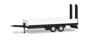 HO 1:87 Herpa # 76913 - 2-axle  Utility Trailer w/sides & Ramps White/Black