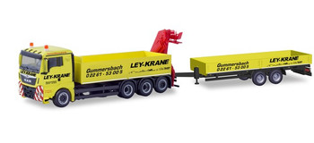 HO 1:87 Herpa # 310741 -MAN TGX XL Truck w/Trailer & Hoist - Yellow Nordheim