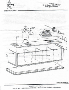 HO 1:87 Alloy Forms # 3149 - 45' Ribbed Sided Trailer KIT - Cast Plastic