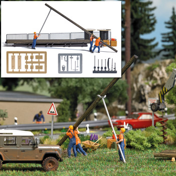 HO 1:87 Busch # 7835 Installing Power Poles with 3 Figures Miniature Scene
