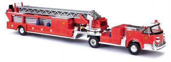 HO 1:87 Busch # 46031 - 1968 American-LaFrance Fire Hook & Ladder Truck w/ open Cab - Fire Department (red, black)