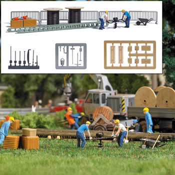 HO 1:87 Busch # 7834 Auger, 2 Figures and Telecom Scene