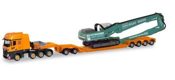 HO 1:87 Herpa # 310895 Mercedes Arocs Slt, Pendel X Heavy Haul w/Excavator : Riedel/Wagner