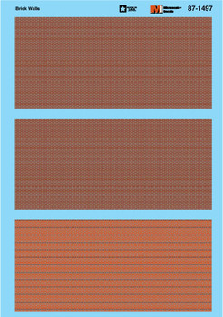 HO 1:87 Microscale 87-1497 Brick Wall Decals (Common & Strecher Patterns)