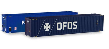 HO 1:87 Herpa # 76937 - 45' Shipping Containers  (2 pcs.) - P&O, DFDS