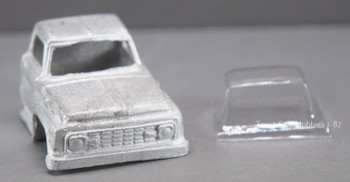 HO 1:87 PY-Ford F 1963 Ford F Cab w/glazing insert, White Metal - CAB ONLY KIT