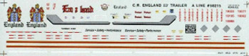 HO 1:87 A-Line # 50215 Decals for C.R. England 53' Trailer