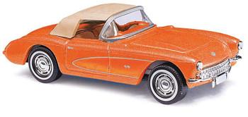 HO 1:87 Busch # 45428 - 1956 Chevrolet Corvette Convertible - Top Up (metallic orange)