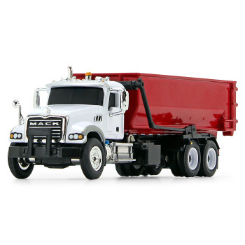 HO 1:87 First Gear # 80-0345 Mack Granite w/Roll-off Container - White/Red