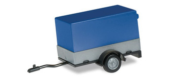 HO 1:87 Herpa # 51576-003 Car Trailer w/Canvas Cover Grey/Blue