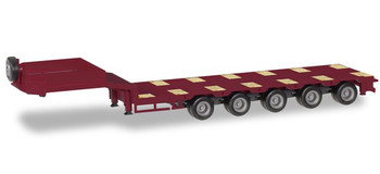 HO 1:87 Herpa # 76388-009 - Goldhofer 5-Axle Drop Deck Low-Boy Trailer  - Maroon