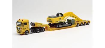 HO 1:87 Herpa # 312301  MAN TGX w/ Heavy HaulLowboy Trailer & Excavator - Weiss