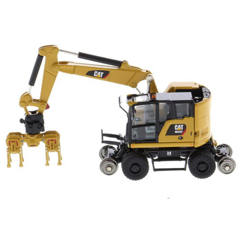 HO 1:87 Diecast Masters 85656 Cat M323F Railroad Wheeled Excavator - In CAT Yellow Paint