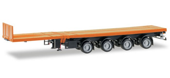 HO 1:87 Herpa # 76203-007 - 4-axle Telescoping Flat Bed Trailer – Orange