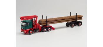 HO 1:87 Herpa # 312554 Mercedes Actros w/Log Loader & Log Timber Trailer