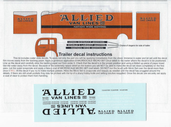 HO 1:87 Sylvan Scale Models #  LH-83 Allied Movers Decal Set