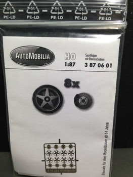 HO 1/87 AutoMobilia DE # 3870601   5-Spoke Wheels  (8)  Detail Parts