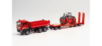 HO 1:87 Herpa # 312349 MAN TGS Dump Truck w/Construction Trailer & Roller - Kutter