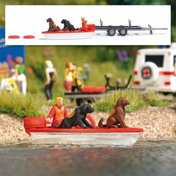 HO 1:87 Busch # 7898 - Water Rescue Newfoundland Dogs Set - Motor Boat, 2 Dogs, Figure, Trailer, 2 Life Preservers