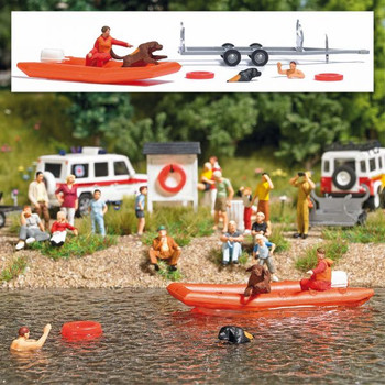 HO 1:87 Busch # 7897 - Water Rescue Newfoundland Dogs Set - Inflatable Boat, 2 Dogs, 2 Figures, Trailer, 2 Life Preservers