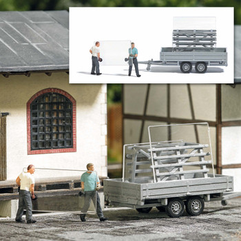 HO 1:87 Busch # 7905 - Glass Transport Trailer with 2 Figures - Action Set