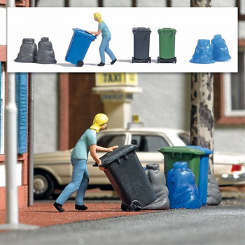 HO 1:87 Busch # 7874 - Woman Taking Out Trash Bin - Action Set -- Figure, 3 Bins, 4 Garbage Bags