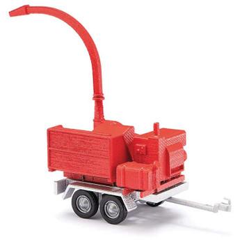 HO 1:87 Busch # 59965 - Wood Chipper Trailer - Red/Silver