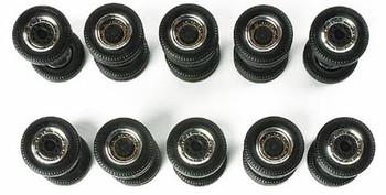 HO 1:87 Herpa # 52580 Truck Trailer Wheels - 5 Tandem Axle Sets, 5 Single Wide Tire Sets (12MM Diameter)