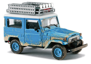 HO 1:87 Busch # 43023 -1960 Toyota Land Cruiser J4 Hardtop SUV with Roof Rack - Weathered, Blue, White
