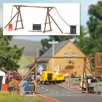HO 1:87 Busch # 1375 Wooden Construction Site Cable Bridge w/ Reels & Power Distributor - KIT
