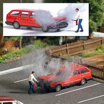 HO 1:87 Busch # 7881 Volkswagen Passat Station Wagon on Fire w/Figure - Action Set