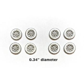 "HO 1:87 Showcase Miniatures 3015 - Spoked Wheels -  Wheel Set (8 pcs.) .34"" Diameter"
