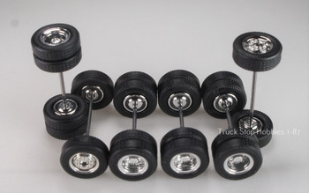 HO 1:87 TSH # 9451 Chrome Tractor Wheel set 2-wide fronts, 4-rear duals - 12.3 mm