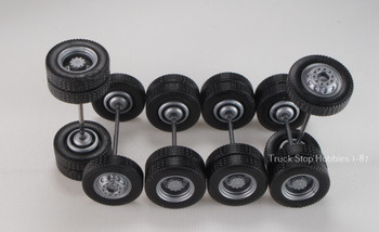 HO 1:87 TSH # 9460 Silver Tractor Wheel set,  2-narrow fronts, 4-rear duals - 12.3 mm