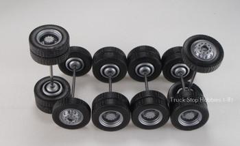 HO 1:87 TSH # 9460 Silver Tractor Wheel sets ,  2-narrow fronts, 4-rear duals - 12.3 mm