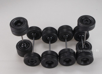 HO 1:87 TSH # 9470 Black Rim Tractor Wheel sets,  2-wide tire front axles, 4-rear duals axles - 12.3 mm