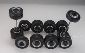 HO 1:87 TSH # 9480 Silver w/Black Insert Tractor Wheel set,  2-narrow fronts, 4-rear duals - 12.3 mm