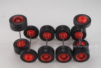 HO 1:87 TSH # 9490 Red Rim Tractor Wheel set,  2-narrow fronts, 4-rear duals - 12.3 mm