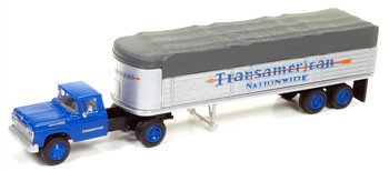 HO 1:87 Classic Metal # 31170 - '60 Ford Tractor w/32' Covered Wagon Trailer Transamerican