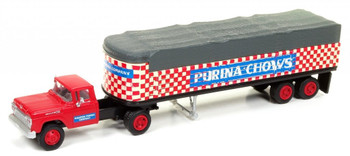 HO 1:87 Classic Metal # 31171 - '60 Ford Tractor w/32' Covered Wagon Trailer Purina Mills