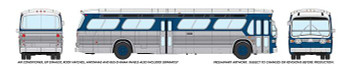 HO 1:87 Rapido # 703072 - 60s-86 GM New Look-Fishbowl Bus - Painted, Unlettered 5303 Style (silver, blue)